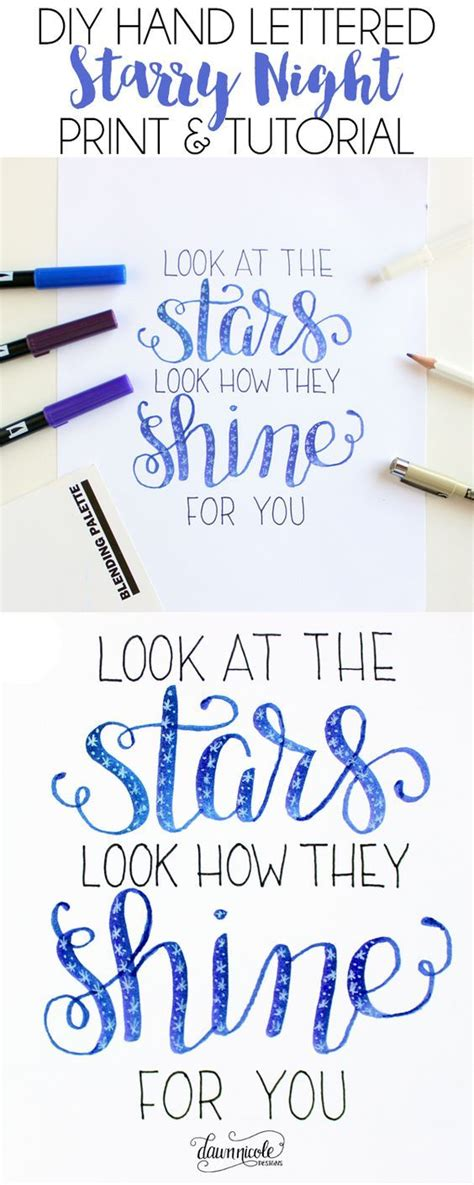tutorial membuat hand lettering diy starry night hand lettering tutorial starry nights