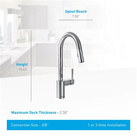 7565ec moen align series motionsense kitchen faucet chrome moen 7565ec chrome align metal touchless pullout spray