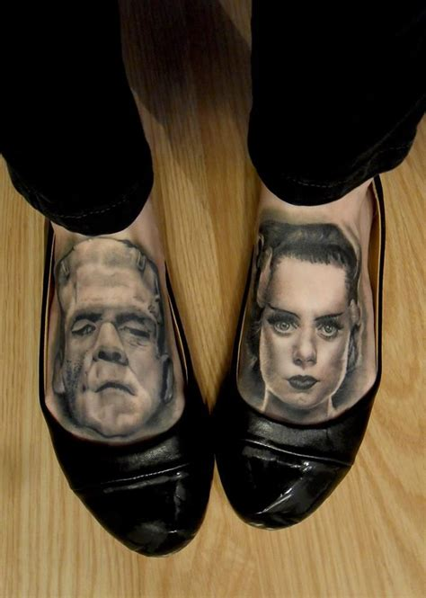 bride of frankenstein tattoo foot tattoos by v 233 ro from studio tattoomania in montr 233 al