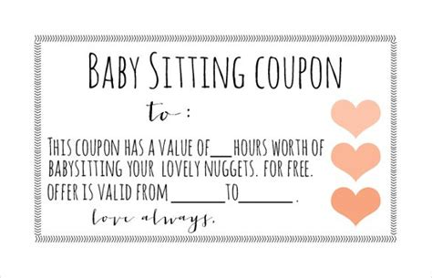Babysitting Coupon Template 10 baby sitting coupon templates free sle exle