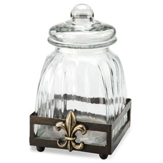 fleur de lis canister 5 5 quot small kitchen canisters nature home decor kitchenware direct