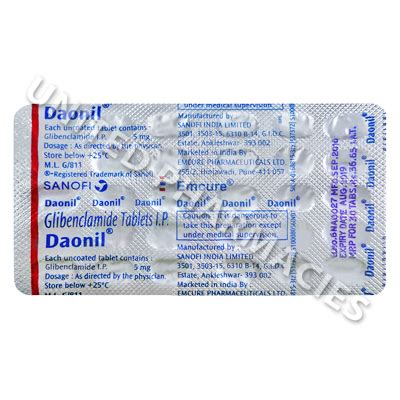 Daonil Glibenclamide daonil glibenclamide ip 5mg 30 tablets united