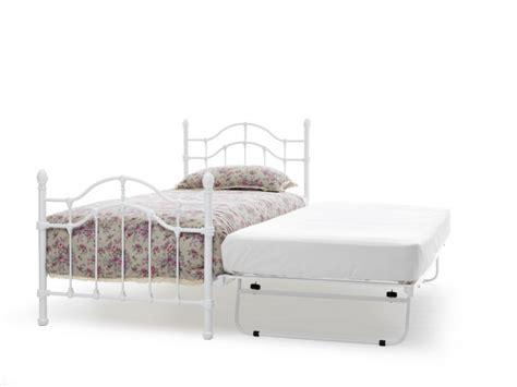 Serene Paris 3ft Single White Gloss Metal Guest Bed Frame White Frame Single Bed