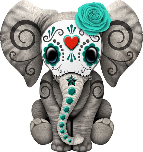 quot teal blue day of the dead sugar skull baby elephant