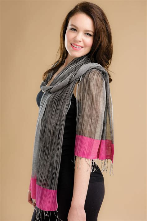 pink ikat scarf sevya fair trade wholesale scarves