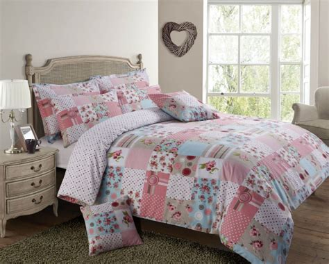 Patchwork Duvets - pink blue colour patchwork design reversible bedding