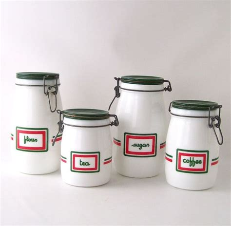 vintage kitchen canister set milk glass milkglass coffee