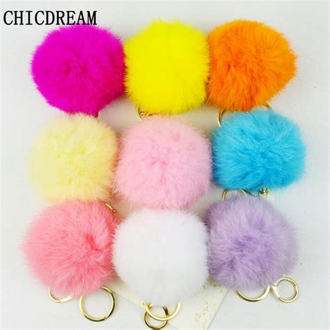 pompom necklace lp 07 real photo cheaper 8cm genuine rabbit fur pompons