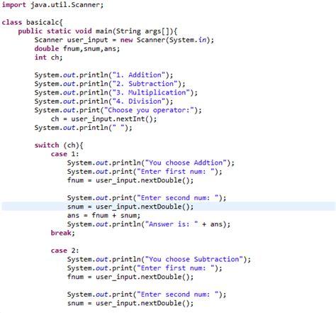 simple pattern programs in java java code basic calculator using switch case ibegin java