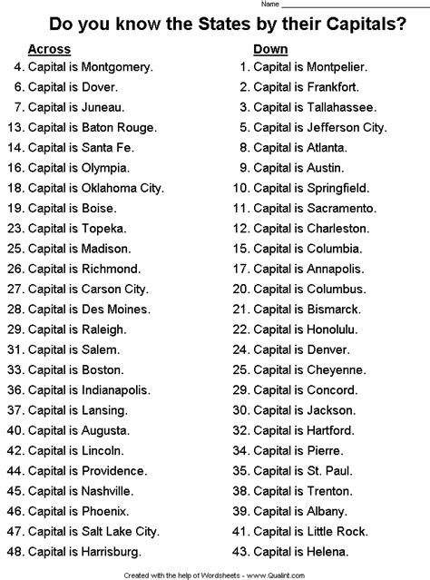 States And Capitals Worksheets by States And Capitals Crossword Puzzle States In The