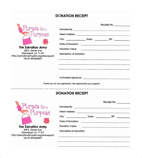 salvation army donation receipt template donation receipt template 18 free sle exle
