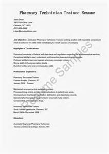 resume sles pharmacy technician trainee resume sle