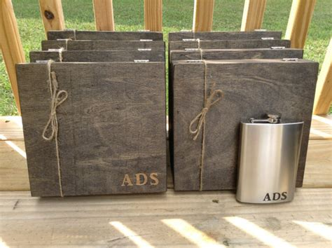 country wedding 8 groomsmen gift flask sets personalized groomsmen gift set of 8 engraved cigar box and liquor