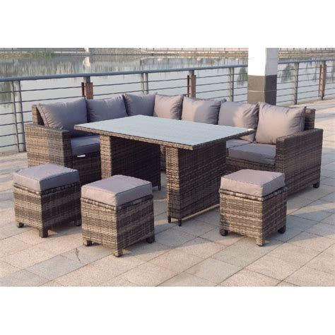 outdoor rattan dining furniture sets rattan outdoor corner sofa dining set garden furniture in grey