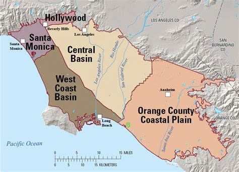 map of los angeles basin los angeles orange county groundwater quality compared