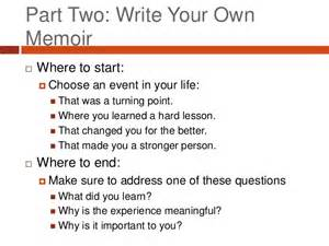 Writing A Memoir Essay by Alwg Memoir Writing