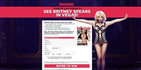 Global Sweepstakes Company - women s health britney spears piece of me sweepstakes womenshealthmag com