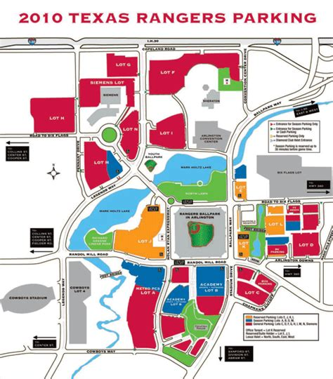 texas rangers ballpark parking map local area information texas rangers