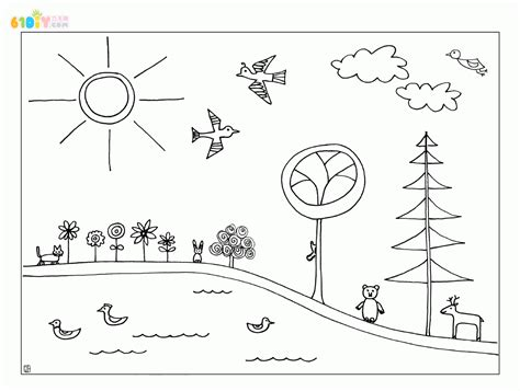 day and night coloring page for kindergarten 美丽的春天来了