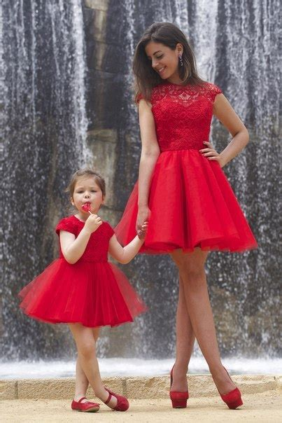 Lovely Red Lace Mother and Daughter Dress Tulle Short