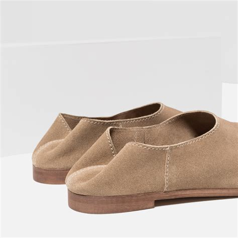 flat leather shoes for zara flat leather shoes in brown lyst