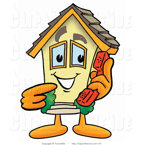 call house phone avenue clipart of a yellow home mascot cartoon character holding a telephone by toons4biz 173