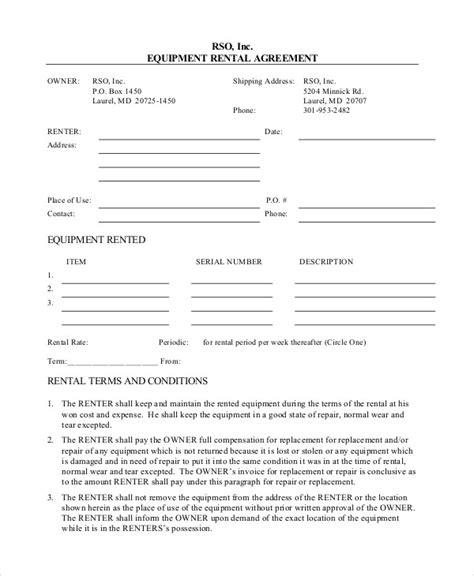 equipment rental agreement form template net lease agreement template