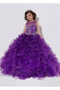 puffy ball gown purple organza ruffle beaded little girls special occasion prom dress