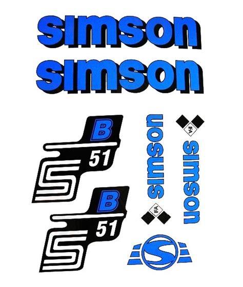 Moped Aufkleber Shop by Aufkleber Set 7 Teilig Simson S51b Blau Shop