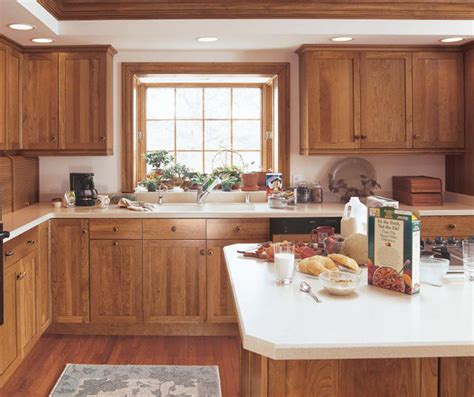 cherry shaker cabinets in rustic kitchen kitchen craft
