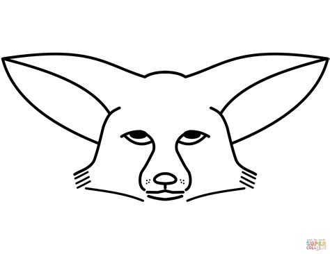 coloring page of a fox face fennec fox face coloring page free printable coloring pages