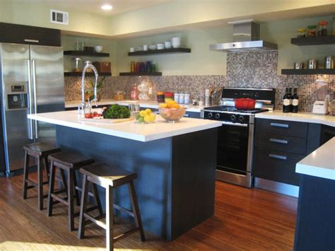 brown and blue contemporary kitchen with large kitchen island this contemporary kitchen s large blue kitchen ideas decorations home designs project