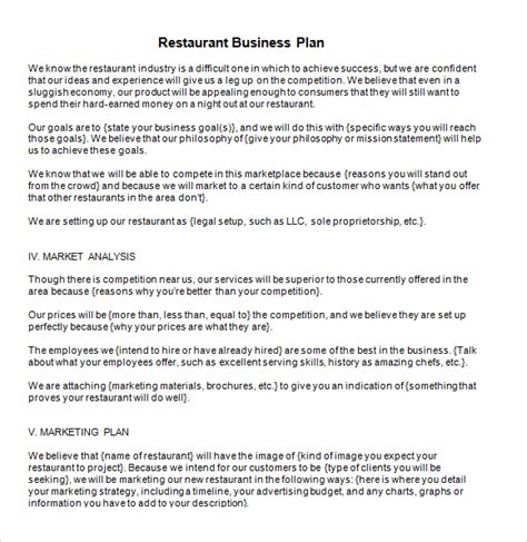 free template business plan 5 free restaurant business plan templates excel pdf formats