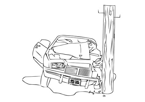 coloring page car crash  printable coloring pages