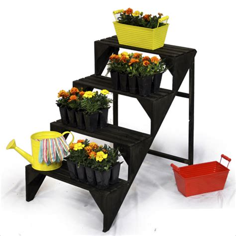 Wooden Four Step Plant Display Stand Black Charcoal The