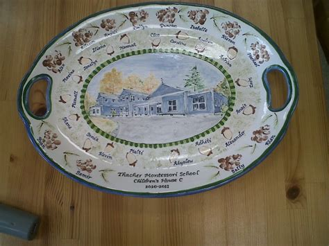 S Corn School Platter 3 parent painted beautiful drawing of the school on a ceramic platter children thumbprints made
