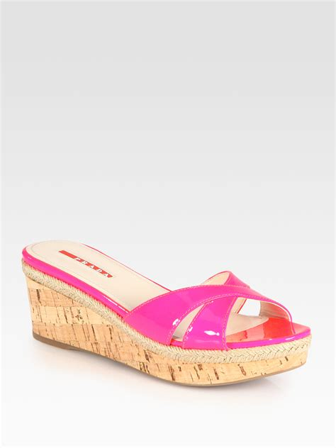 Mossimo Parry Patent Cork Slide Wedges by Lyst Prada Patent Leather Cork Wedge Espadrille Slides