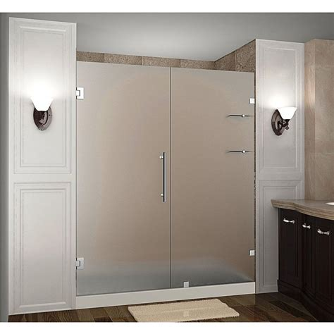 aston nautis gs 72 in x 72 in completely frameless hinged shower door with frosted glass and