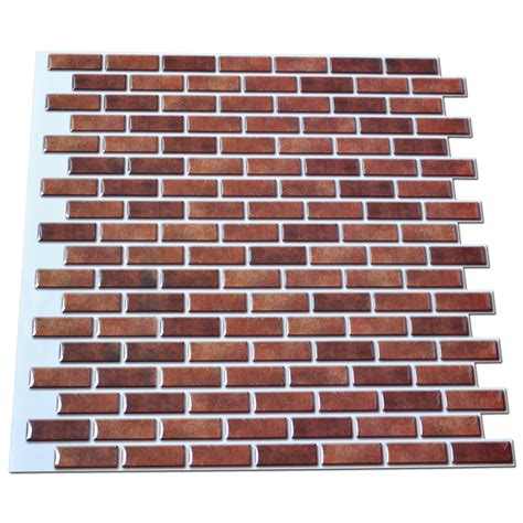 6 pack peel and stick brick backsplash tiles kitchen smart peel and stick wall tile in mini brick style for kitchen