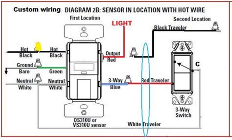 3 way switch with motion sensor switch diagram wiring
