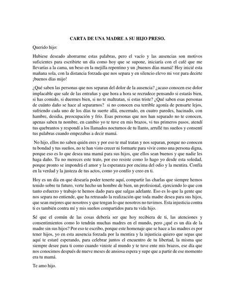 madre de una carta para un hijo carta de una madre a su hijo preso by cindylu perez issuu