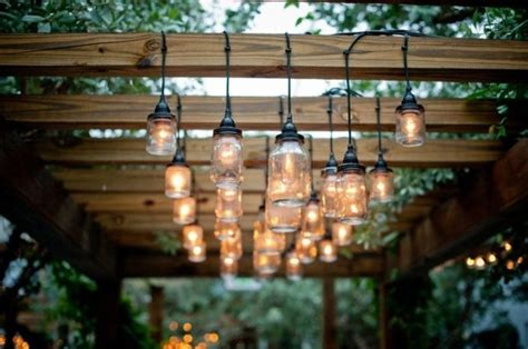 Jar Patio Lights by A Patio Strung With Jar Lights Wedding Day Pins