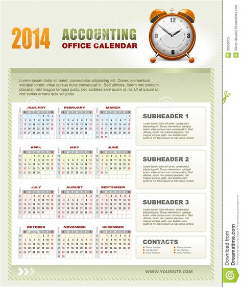 2014 accounting calendar with week numbers vector royalty