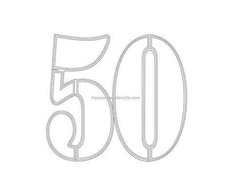 Printable 50 Template Free Military 50 Number Stencil Freenumberstencils Com