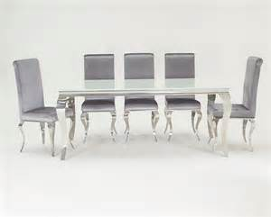 wilkinson furniture louis white glass dining table set 6