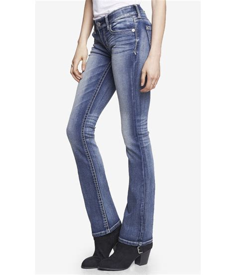 Celana Celana Express Washed Denim Low Rise Boot Cu express medium wash low rise thick stitch barely boot jean in blue lyst