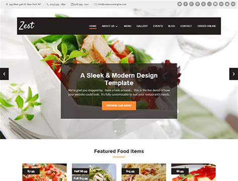 Restaurant Website Design Templates Restaurant Website Template With Ordering