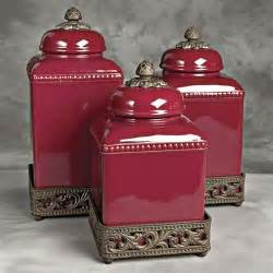 Red Kitchen Canister Sets Ceramic Tuscan Red Kitchen Canisters For The Home