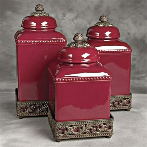 ceramic tuscan red kitchen canisters for the home