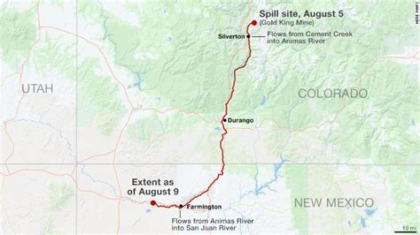 animas river map animas river runs yellow with toxic waste in colorado seattle backpackers magazine